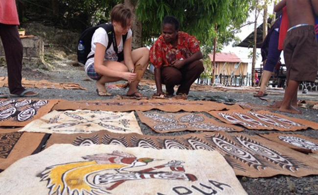 Xvlor Khombow is bark painting by Asei Island people on Lake Sentani