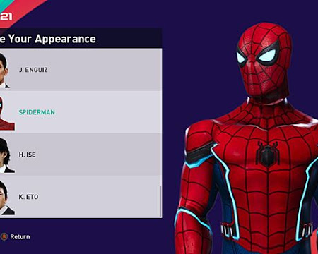 PES 2021 Spiderman Manager Face
