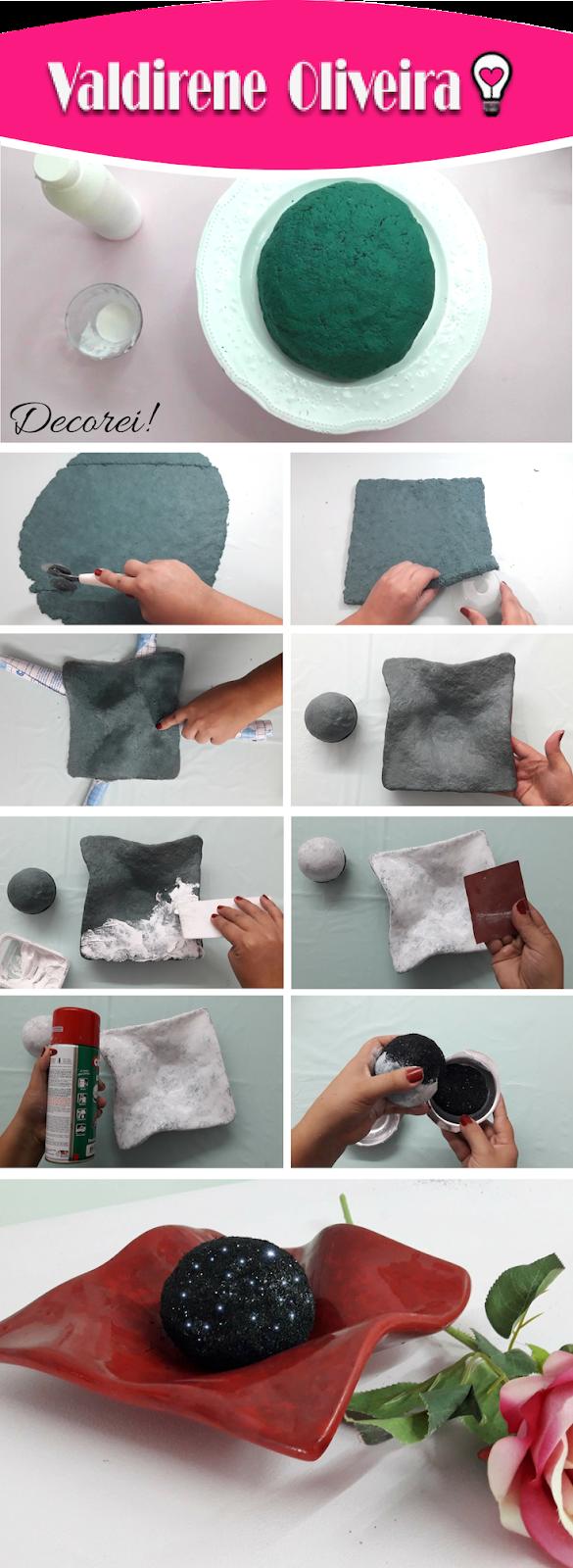 Passo a passo de como fazer bandeja de papel machê