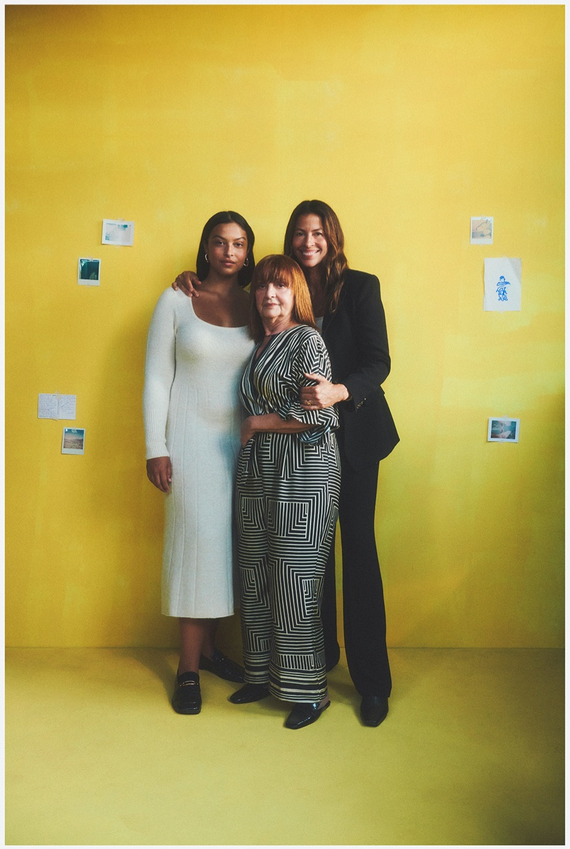 Model Devyn Garcia poses with her mother and grandmother for Mango Family Portraits fall-winter 2021 campaign.