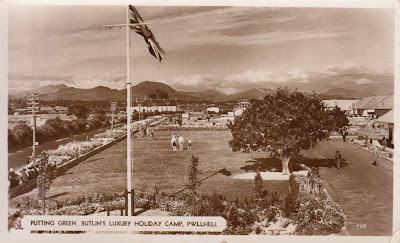 Putting Green, Butlin's Luxury Holiday Camp, Pwllheli. Published by Butlin's Photographic Services Ltd. Postally used on 4th June 1951