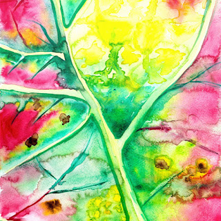 Leaf close up watercolor painting