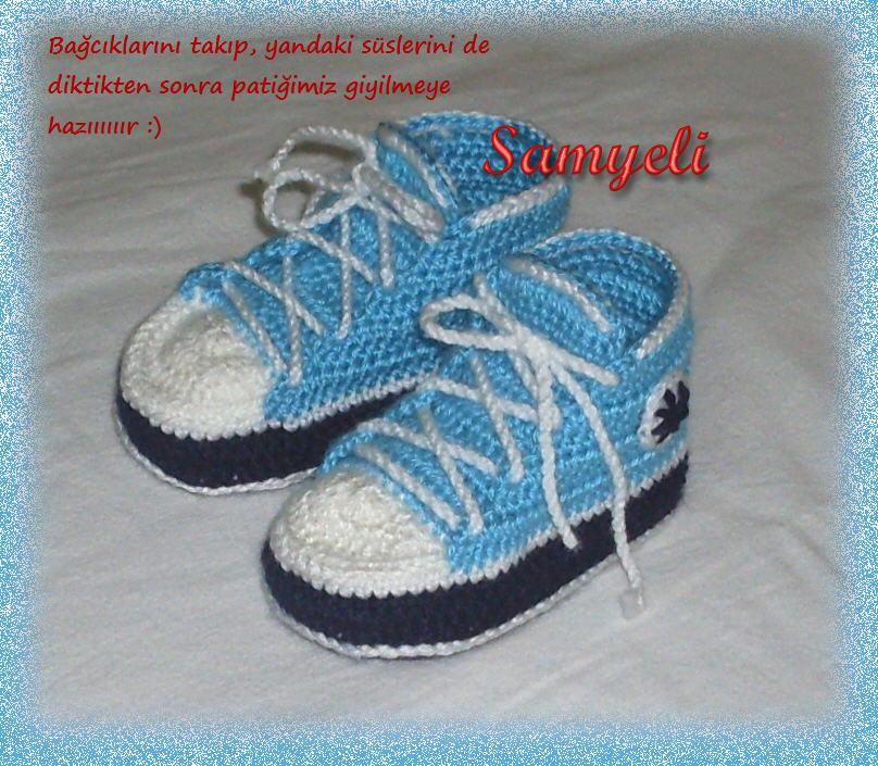 Kırmızı örgü bebek patiği botu yapılışı - 10marifet.org | 705x808