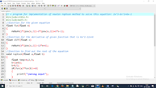 Write a C program to find the root of equation using Newton Raphson Method. Equation: 2x^3-6x^2+6x-1. pic 1