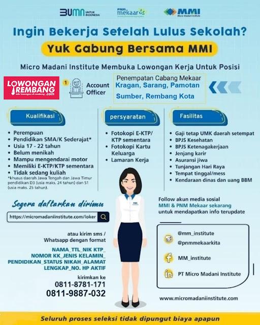 Lowongan Kerja SMA Sederajat Perusahaan BUMN Micro Madani Institute PNM Mekaar Rembang