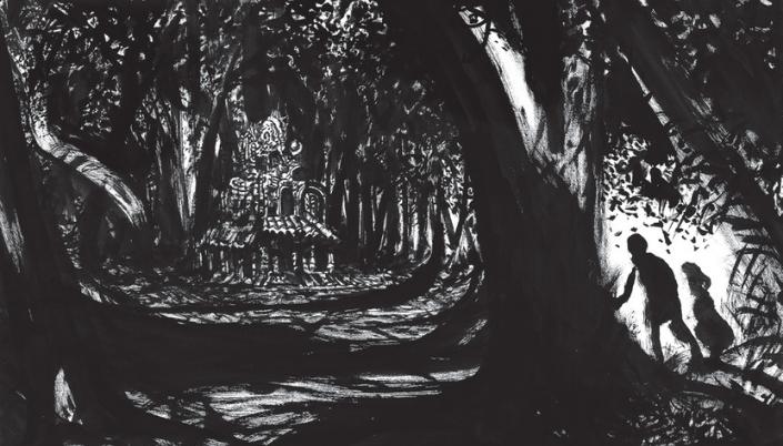 Imagem: arte em preto e branco, feita em xilogravura, dos irmãos João e Maria, representados por duas silhuetas pretas num canto da pintura, descobrindo a casa de doces, rodeada por diversas árvores e sombreados escuros.