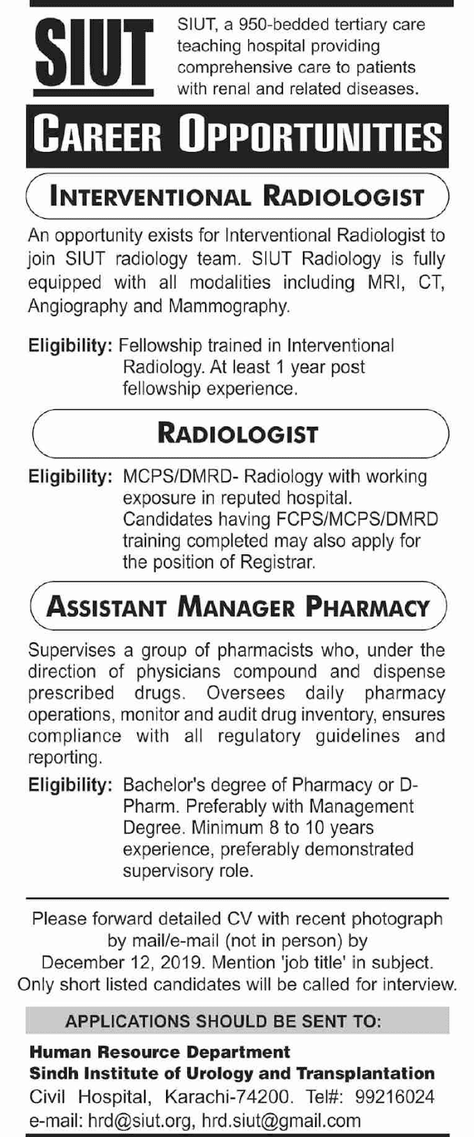 Jobs in Sindh Institute of Urology and Transplantation SIUT 2019