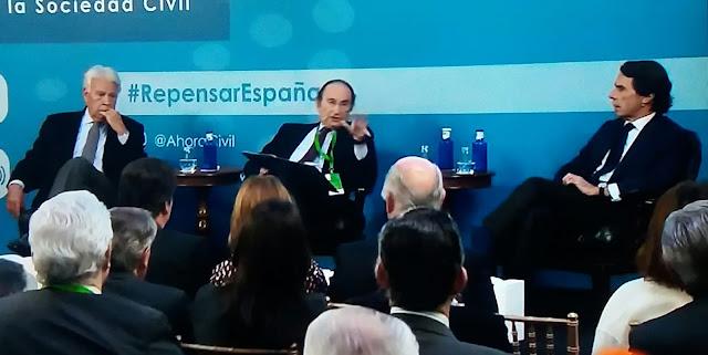 """Aznar en el cónclave Repensar España: """"me siento angustiado con lo que está pasando en la política española"""""""