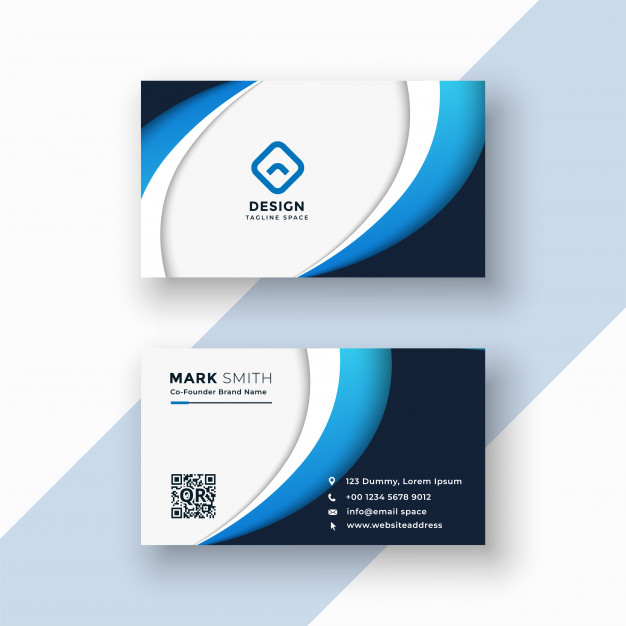 Stylish blue wave business card design template Free Vector