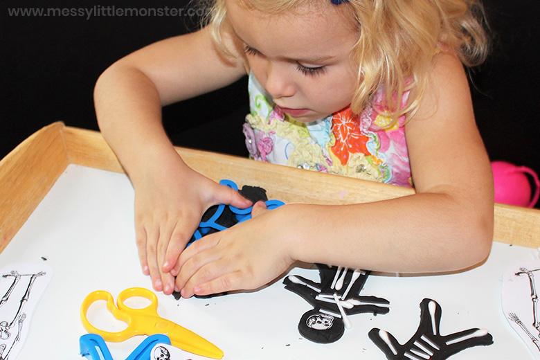 Playdough human skeleton activity for kids