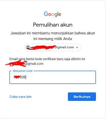 Kode Pemulihan - Lupa Password Gmail