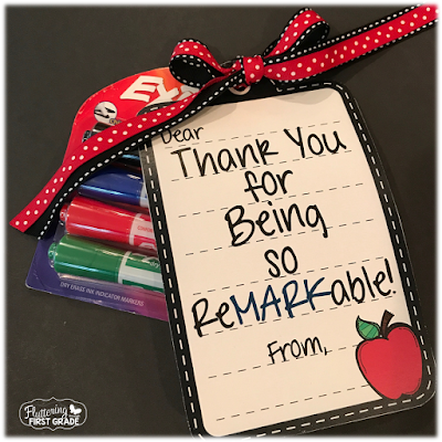 Dry erase marker gift tags for back to school