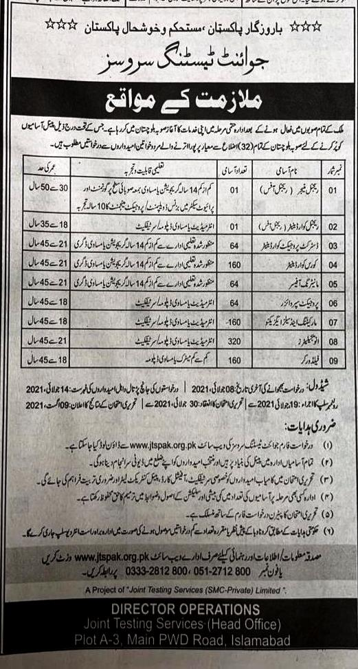 Latest Jobs in Joint Testing Service JTS July 2021