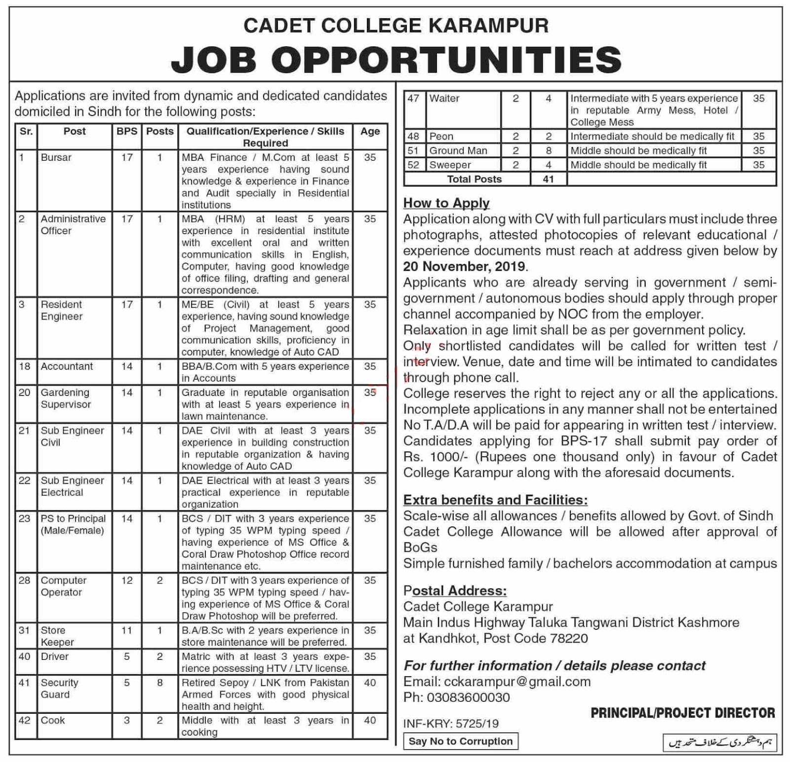 Cadet College Karampur Jobs 2019 at Kashmore and Kandhkot