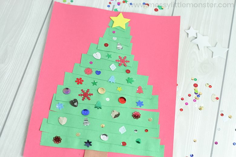 Paper strip Christmas tree craft for toddlers and preschoolers