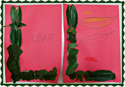 The letter L on construction paper with leaves glued on (letter activities for preschoolers)