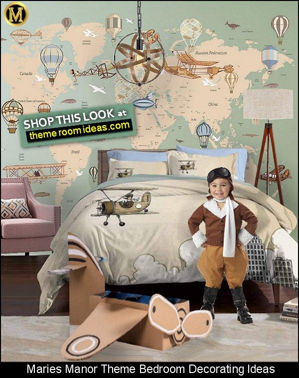 Vintage World Map wallpaper mural Vintage Airplane Bedding  tripod floor lamp  Metal Globe Vintage Pendant Light  pilot costume