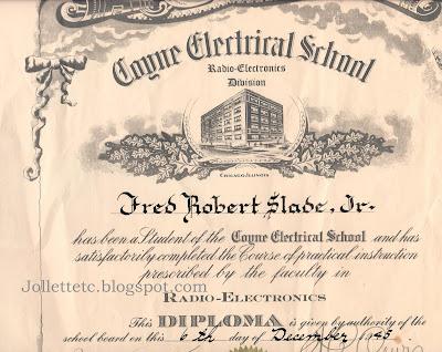 Diploma from Coyne Electrical School https://jollettetc.blogspot.com