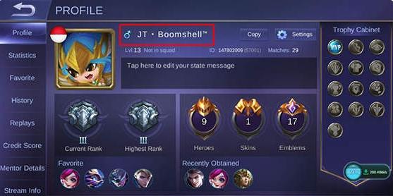 Mengubah Nama Profile