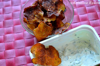 Potato chips and herb dip