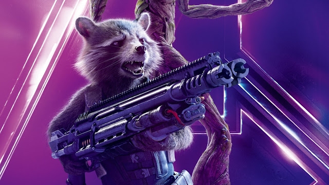 Papel de parede Vingadores: Guerra Infinita Rocket Raccoon para PC, Notebook, iPhone, Android e Tablet.