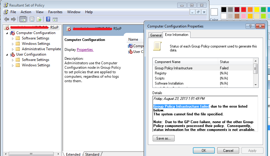 Group Policy Infrastructure failed error in Resultant Set of Policy