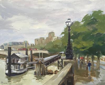 #130 'Rainy Day, Victoria Embankment' 9.5×12″