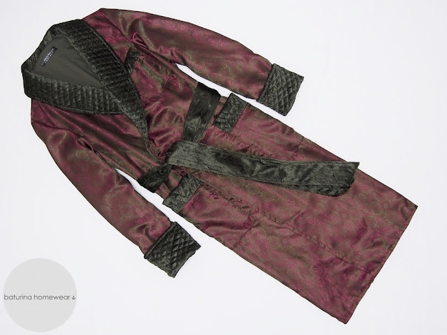 Men's long burgundy paisley silk dressing gown with quilted velvet collar and warm cotton lining