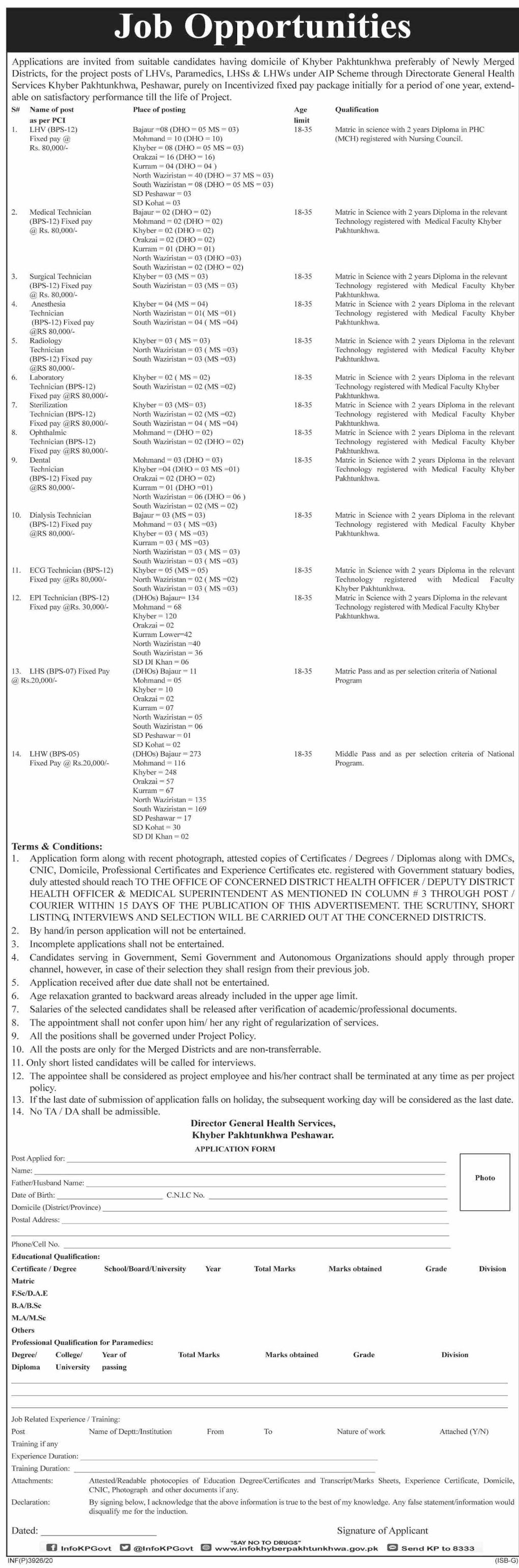 Directorate General Health Services Job Advertisement For Male and Female in Pakistan Jobs 2021-2022