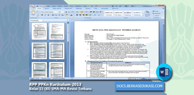 RPP PPKn Kurikulum 2013 Kelas 11 (XI) SMA-MA Revisi Terbaru Tahun 2019-2020