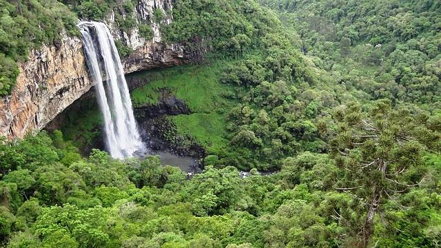 Cascata do Caracol no Parque do Caracol, em Canela, nas Serras Gaúchas