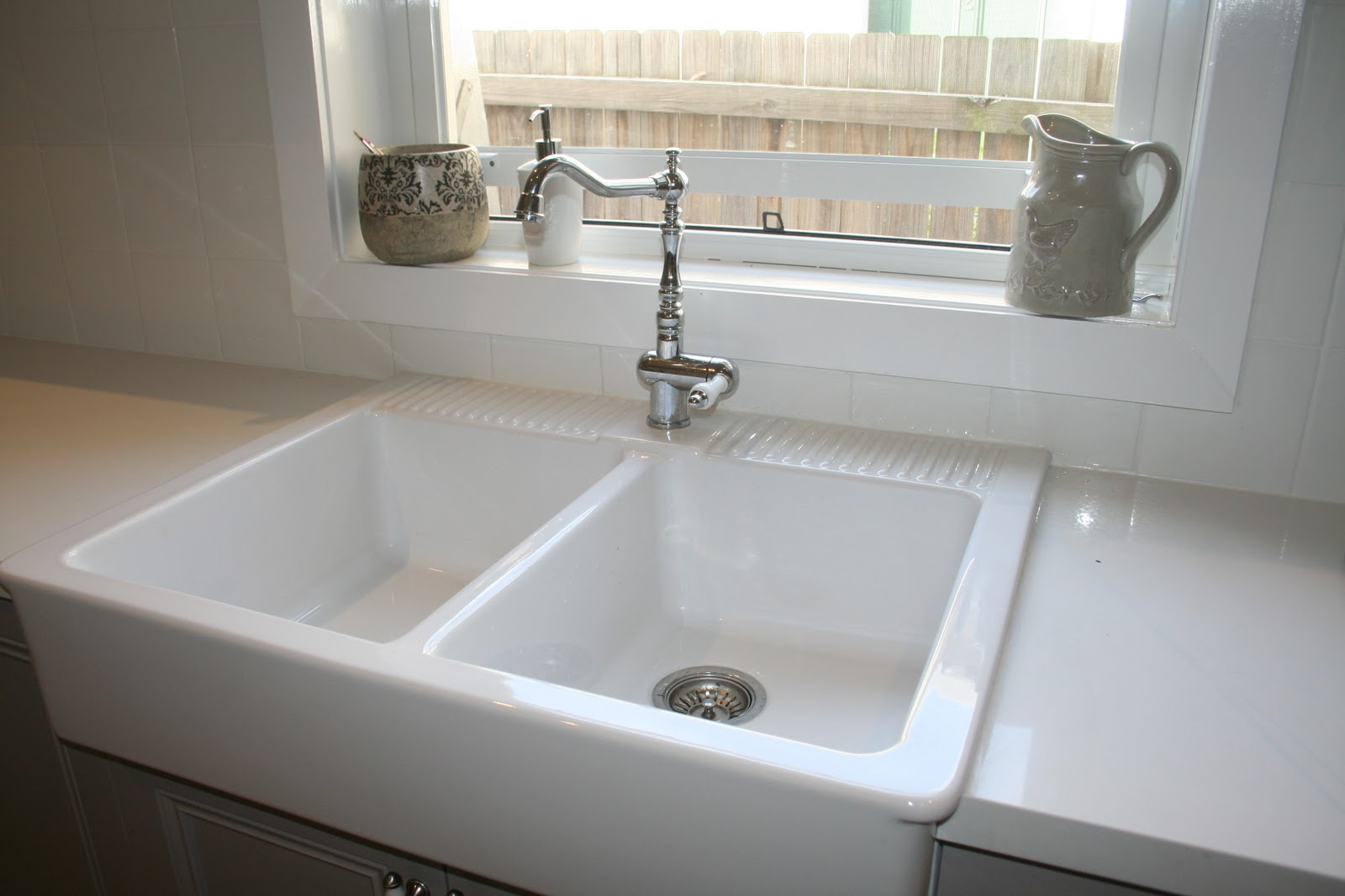 Farmhouse Kitchen Sink Double Ceramic