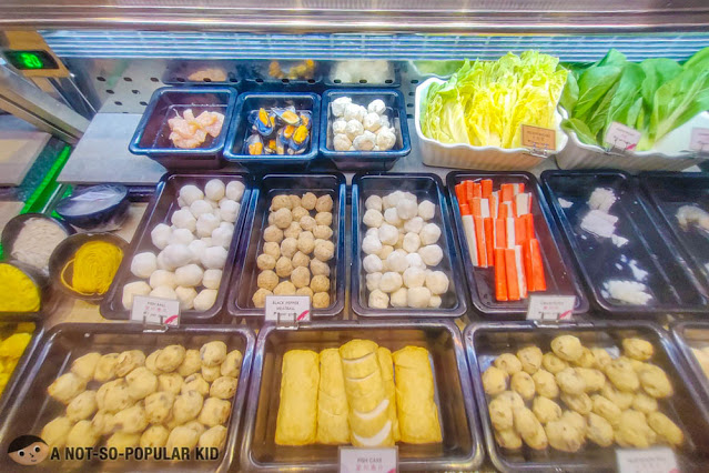 Choices of shabu-shabu ingredients, meat and balls in Tong Yang Express
