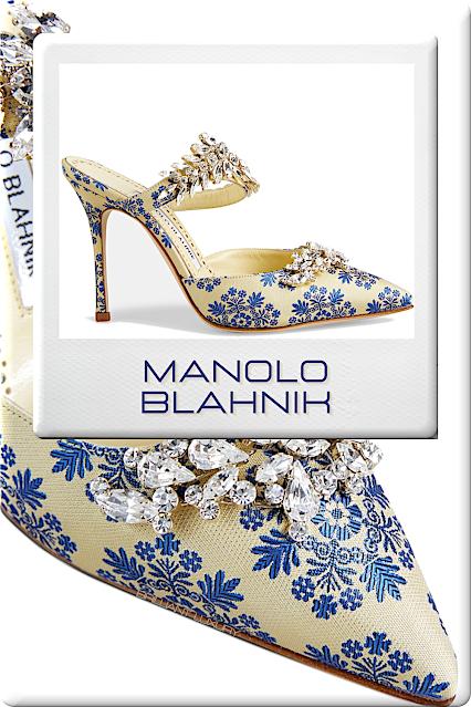♦Manolo Blahnik Lurum mules in lemon yellow and lilac blue floral print #manoloblahnik #shoes #brilliantluxury