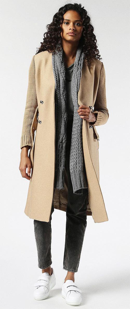 Manteau femme hiver long beige Diesel