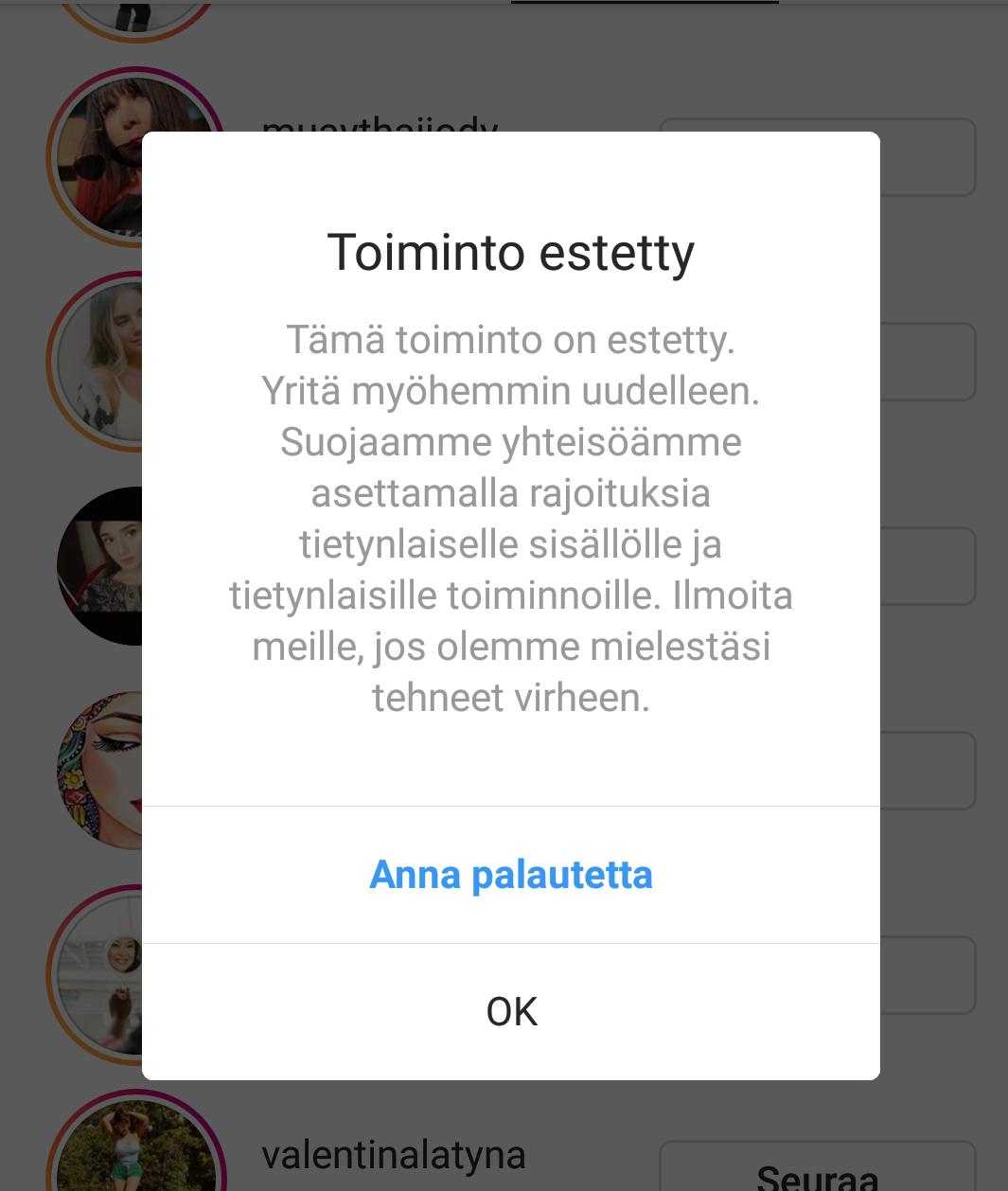 Instagram Toiminto Estetty