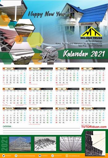 Kalender Dinding 12 Bulan Free PSD Usaha