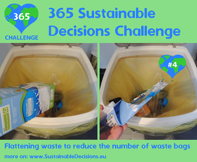 Flattening waste to reduce the number of waste bags reducing plastic waste reducing waste