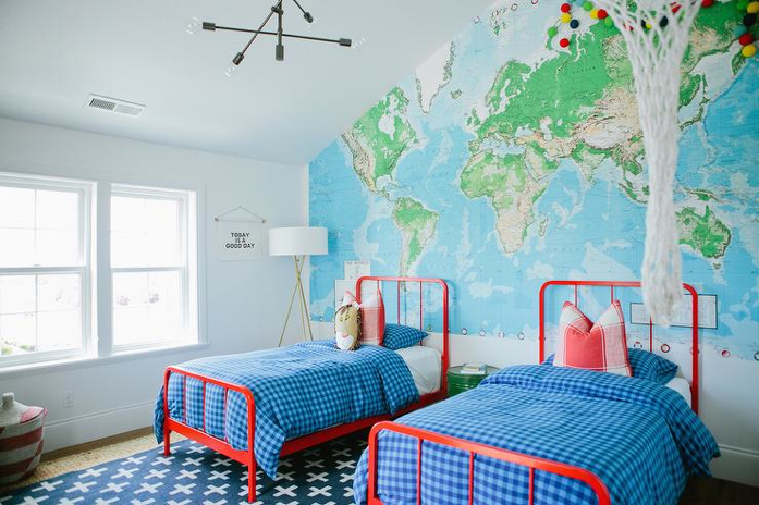 fun room with blue and green