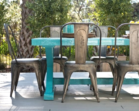 blue painted wood table outdoors