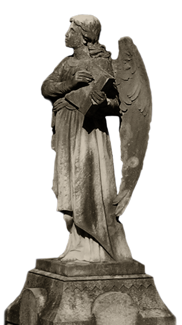 The reverse side of the earlier angel statue, though this side is marked by brown weathering and small chipped areas.