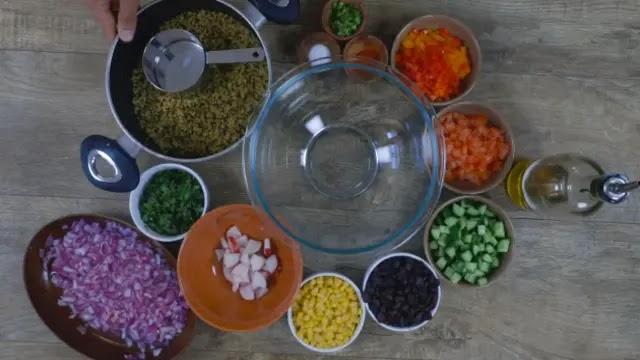 Preparing & serving Mexican Quinoa salad