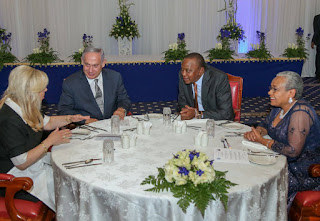 Israel prime minister with President Kenyatta at statehouse.[Image/PSCU]