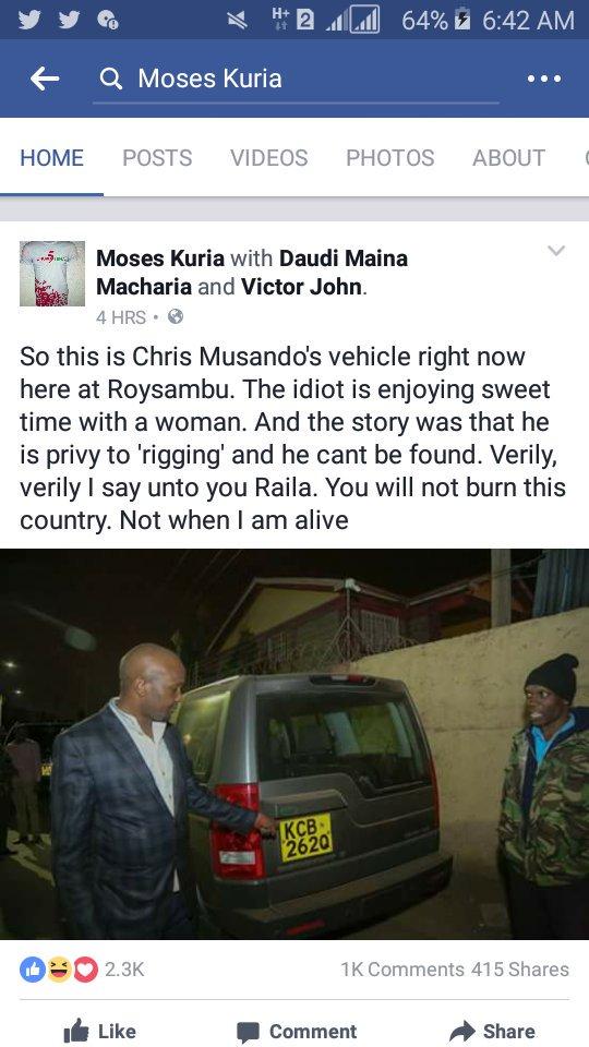 Moses Kuria Chris Musando
