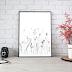 Black Doodle Floral Art