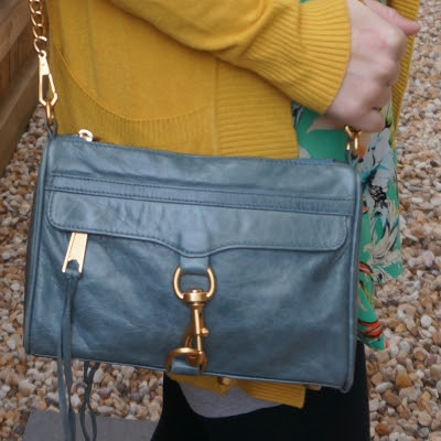 mustard and green outfit with Rebecca Minkoff 2012 sky grey mini MAC bag | away from the blue