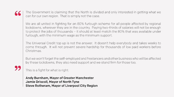 northern mayors letter to government 16th October 2020.