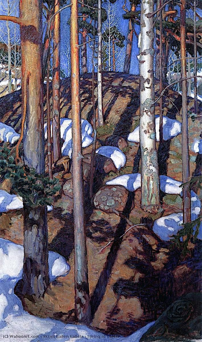 a Akseli Gallen Kallela painting of sun on winter trees
