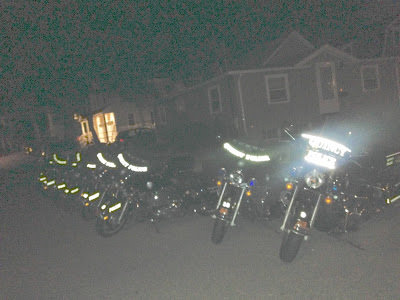 Quincy Police Motorcycles Lined Up in Houghs Neck on 3rd of July to police the neighborhood
