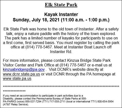 7-18 Elk State Park Event